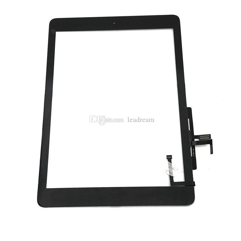 El digitizador del panel de cristal de la pantalla táctil con la asamblea adhesiva de los botones para el aire del iPad libera el envío