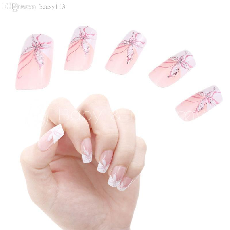 Wholesale French Acrylic False Nail Art Tips Butterfly Pink White ...