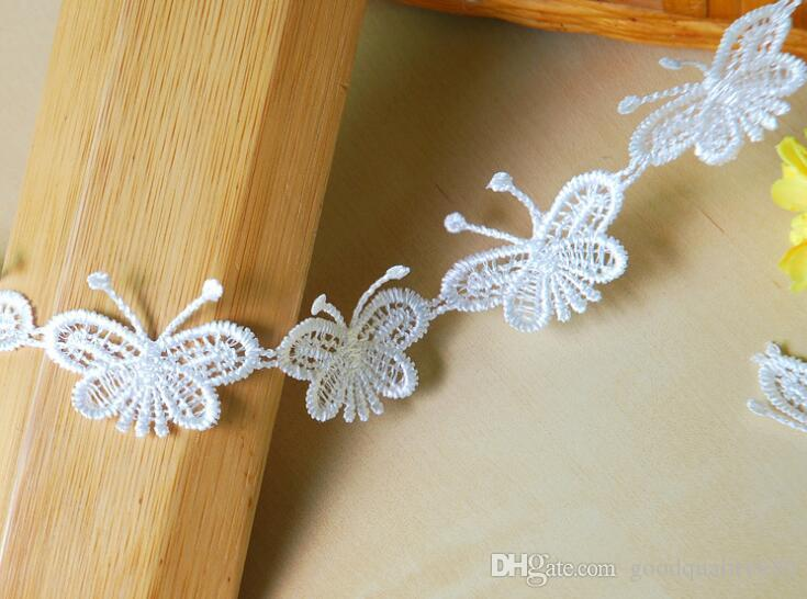 15Yard White Butterfly Cotton Lace Fabric Trim Ribbon For Apparel Sewing DIY Bridal wedding Doll Cap Hair clip