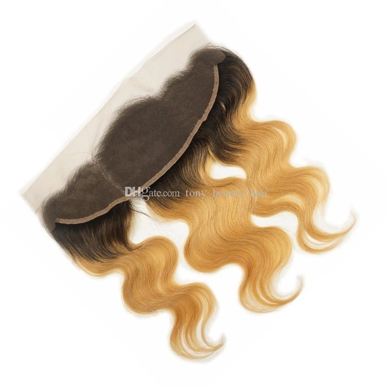Peruvian Honey Blonde Ombre Lace Frontal Closure 13x4 Bleached Knots #1B/27 Two Tone Ombre Body Wave Human Hair Full Lace Frontal Pieces