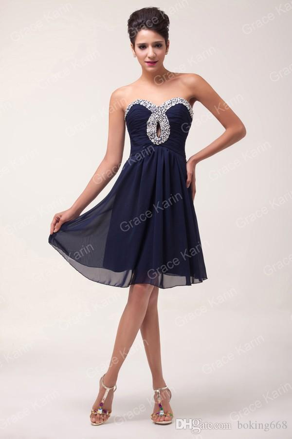 6d3925e195b7 Simple Style Women Elegant Navy Blue Short Prom Dresses Chiffon Sexy Ruched  Bodice Strapless Lace Up Back Cocktail Party Dress Christmas Cocktail Dress  ...