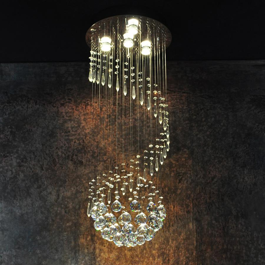 Modern Large Crystal Ceiling Light Fixture For Lobby