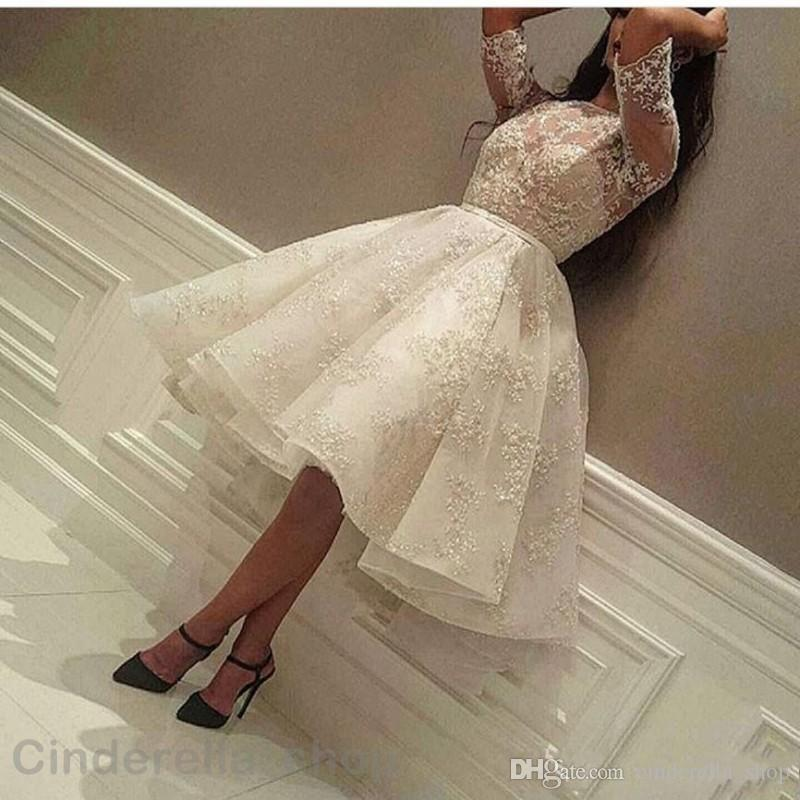 2018 White Short Prom Dresses Half Sleeve Full Lace Illusion Bodice Knee Length Homecoming Cocktail Party Gowns Cheap Plus Size