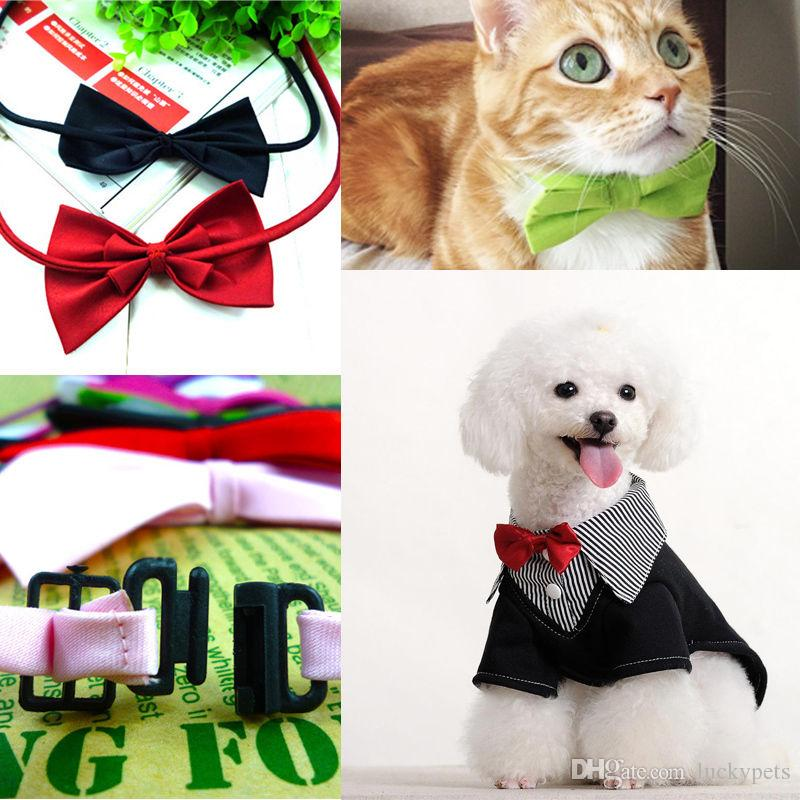 New Colorful Hot Dog Cat Pet Puppy Toys Kids Cute Bow Tie Necktie Collar Clothes Blue Red Pink Black