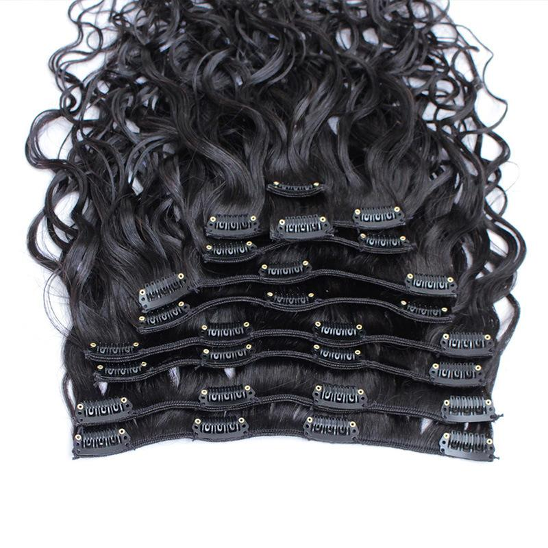 Best Quality 100G Brazilian Virgin Human Hair Clip In Extensions Virgin Hair Water Wave 10-30inch Free Shippment