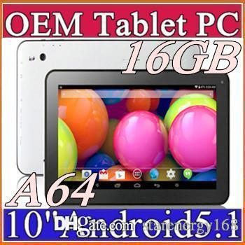 "2016 New Arrival 10"" Tablet PC Allwinner A64 Quad Core Android 5.1 1GB 16GB 1.5GHZ HDMI A31S Micro USB Lollipop dual camera Bluetooth F-10PB"