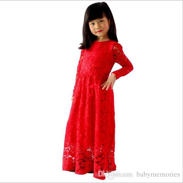 2017 Baby Girls Lace Maxi Dress Kids Party Long Dresses Childrens ...