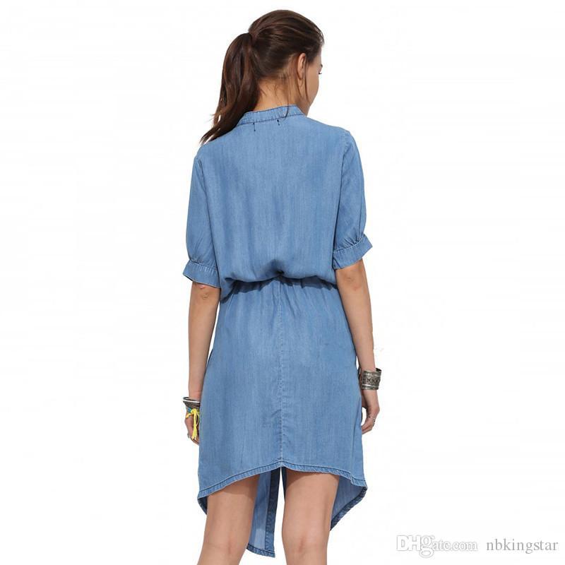 Novas Mulheres Do Vintage Casual Camisa Solta Vestido Gola Azul Jeans Camisa Denim Vestido Das Senhoras Cinto Mini Vestido