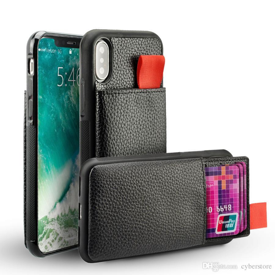 Pour iPhone X XS 7 8 6 Plus Portefeuille Étui En Cuir Antichoc RFID Poche Pull Up Carte de Crédit Titulaire De La Couverture de Téléphone