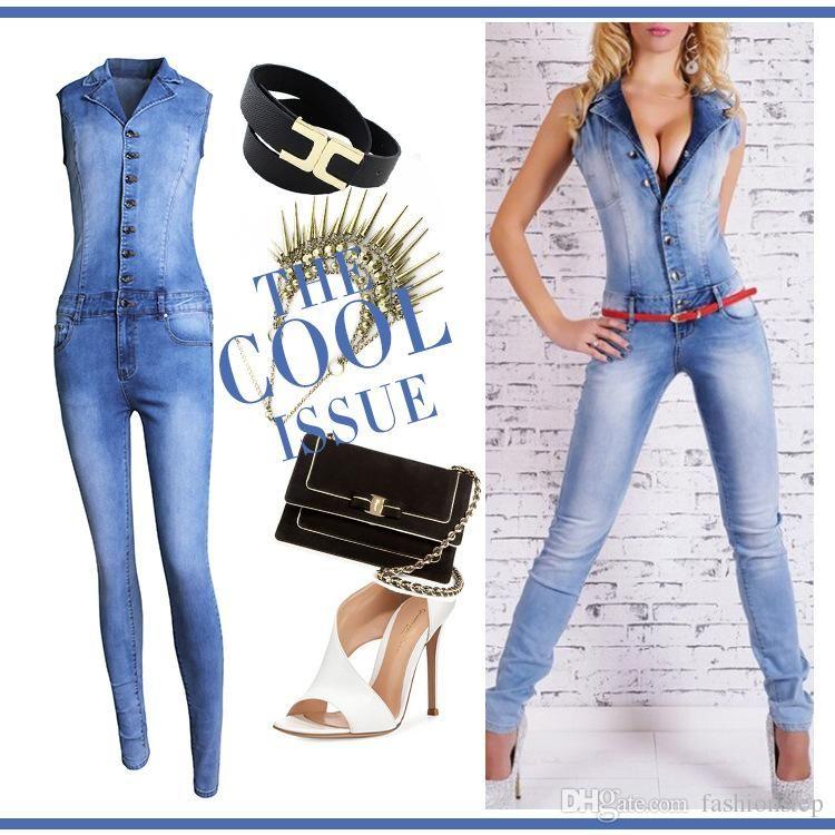 Сексуальный джинсовый комбинезон