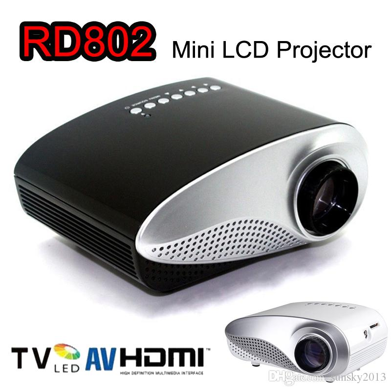 Mini Portable Projector 1080P HD LED LCD Projectors RD802 Multi-Media Player HDMI / VGA / USB /SD / AV Home Theater Cinema for iPad Laptop