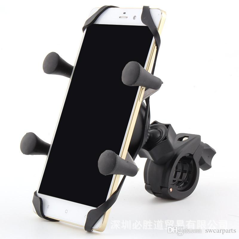 Motorcycle Cell Phone Mount - Heavy Duty Side Mirror & Handlebar Cradle Holder For Any Smartphone & GPS - For Safe Phone Use While On The Ro