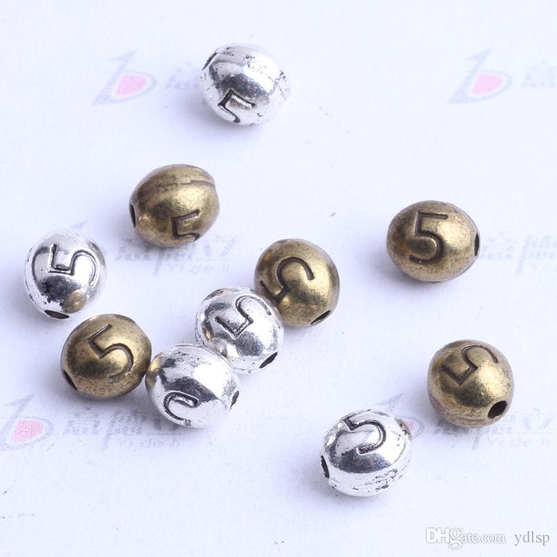 Numéro 5 perles ovales charme antique argent / bronze en alliage de zinc pour pendentif bricolage fabrication de bijoux accessoires 2437