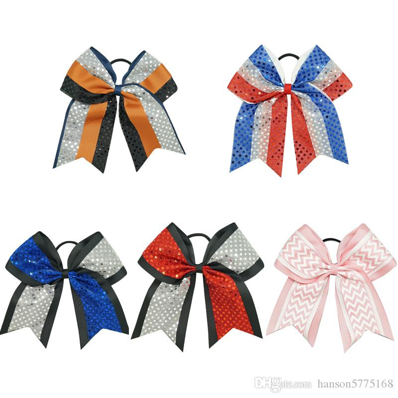 """Wholesale 8"""" Big Sequin Cheer Bows Patchwork Cheerleading Bow With Elastic Band Ribbon Cheer Bow For Girls Kids Hair Accessories"""