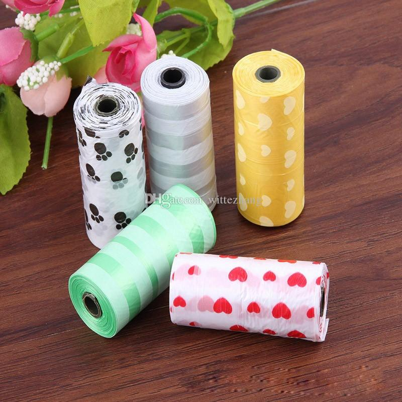 Venta caliente 10 Rollos Degradable Pet Dog Waste Poop Bag con la impresión Doggy Bag Color Promedio de Envío Gratis