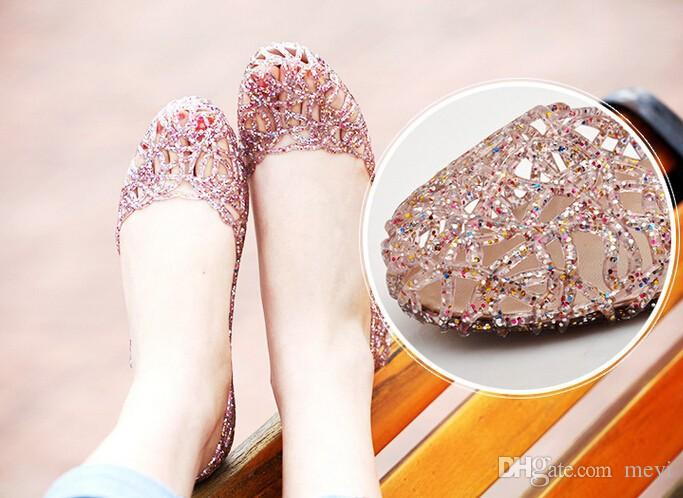 2016 Shallow Leisure Sandals Summer Crystal Cut out Flats Flat Heel Shoes Female Jelly sandals XWZ030