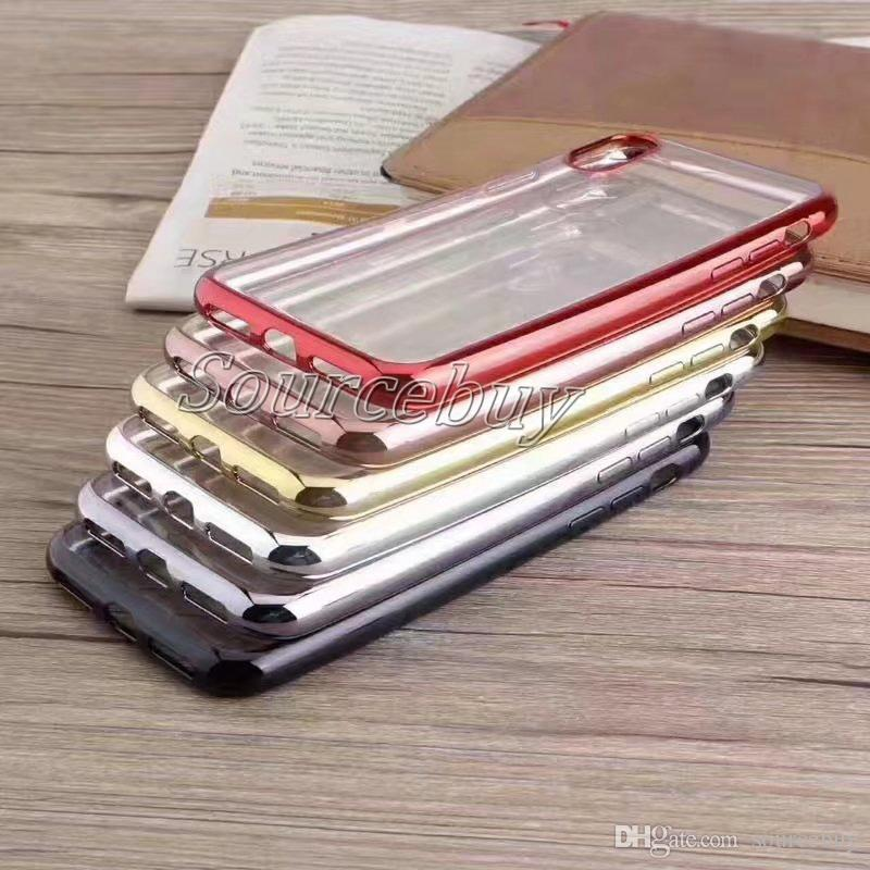 Ultra Thin Rose Gold Plating Clear Case For Iphone X 7 6 6s Plus  Transparent tpu soft Phone Bag Covers For S7 S6