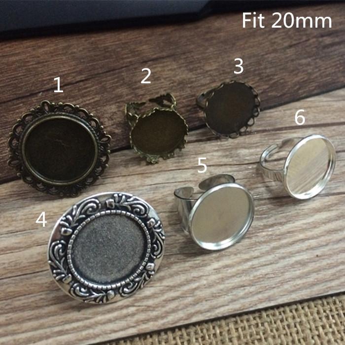 Ottone misto 20mm e argento antico con base circolare anello, cammeo, impostazione 24pz / lotto
