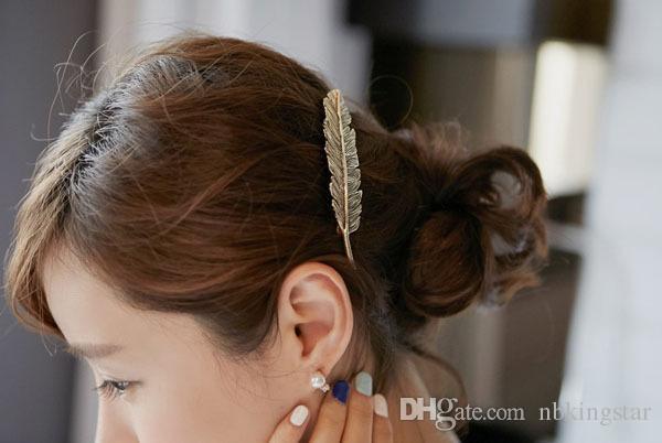 جديد أزياء المرأة ورقة دبوس الذهب الشظية السيدات ريترو ربيع الشعر كليب 12 قطعة / الوحدة ريشة تزيين الملحقات