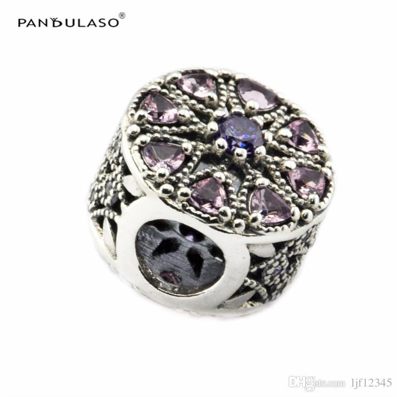 Medaglione scintillante, multicolore CZ argento perline adatto pandora braccialetto donna perline fai da te donna gioielli donna regalo wholeasle