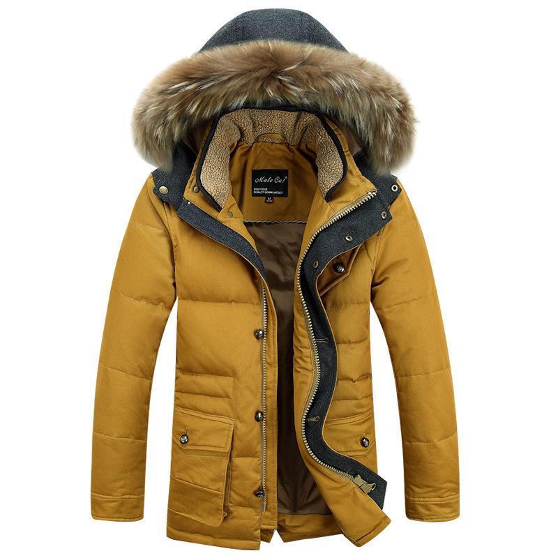 2019 wholesale medium long thick warm heren jassen winter fur collar