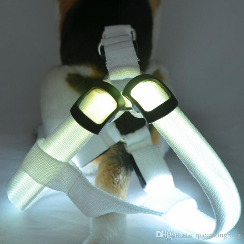 LED Flashing Dog Harness Pet Harness Dog Collar and Leash Puppy Pet Dog Lead 4 sizes to choose