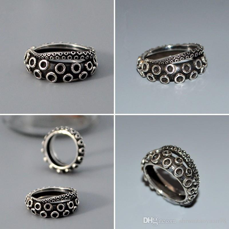 Ancient silver Octopus ring Handmade retro animal ring in jewelry birthday surprise gifts hand rings for women