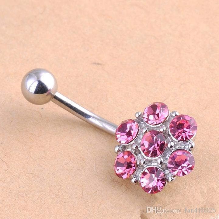 Mixed Color Fashion Girls Flower Seven Diamonds Navel Rings Factory Price Belly Button Rings Body Piercing Jewelry