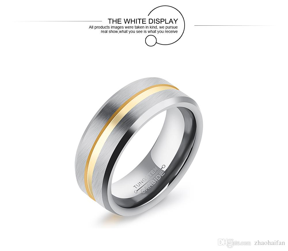 8 mm unisexe hommes femmes anneaux de tungstène anneaux bande de bijoux de fiançailles de mariage plaqué or en forme de confort biseautés WJ244