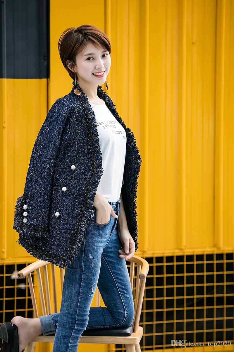Women velvet sexy elegant OL V collar Tassel pearl suit boutique famous fashion brand soft Ladies classic Tweed Cotton Thin Slim jacket