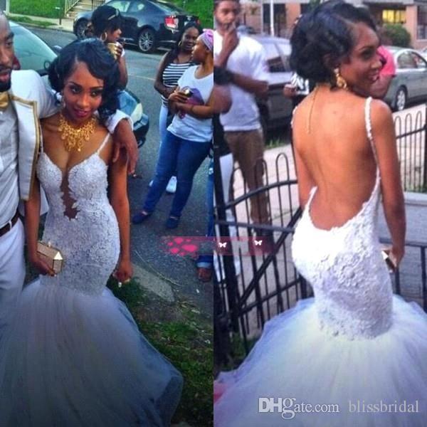 Branco FOMmal Sem Encosto Prom Vestidos Cintas de Espaguete Sereia Rendas Organza Evening Gowns Afric 2016 Vestidos de Festa de Verão