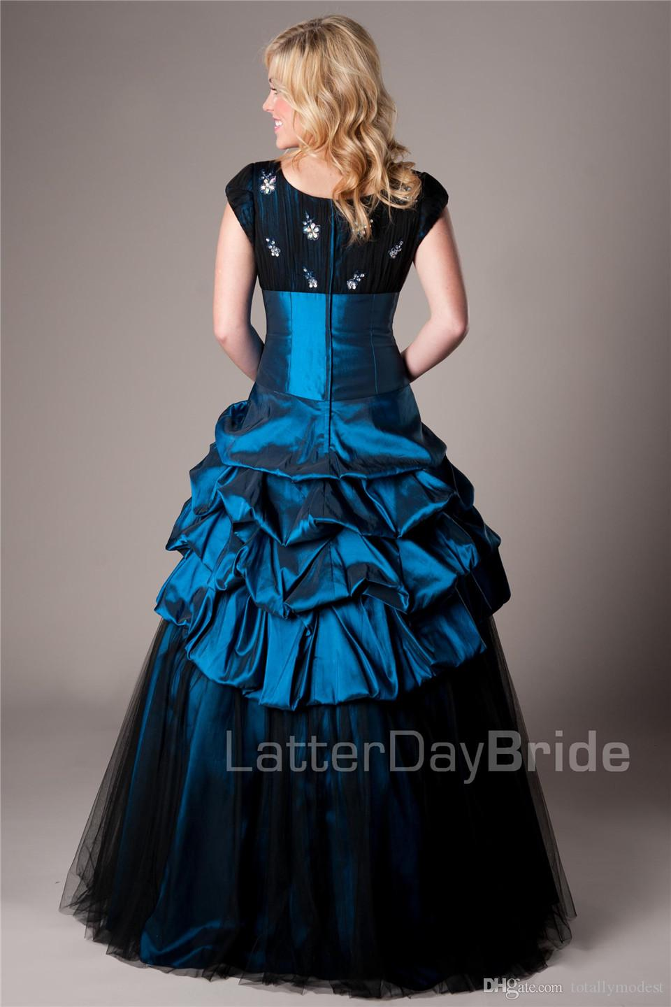 Royal Blue Black Long Ball Gown Modest Prom Dresses With Cap Sleeves Vintage Short Sleeves Taffeta Seniors Puffy Prom Party Dresses