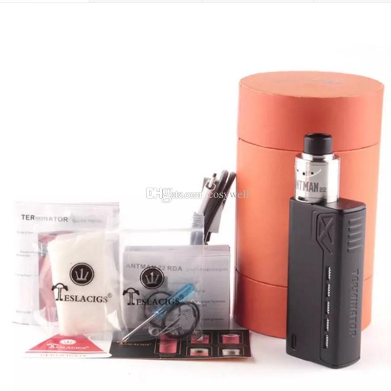Top Kit Terminator Tesla Clone 90W TC Starter Kit VW 18650 Mod. Box Batteria con sigarette Antman 22 RDA vapore mod DHL