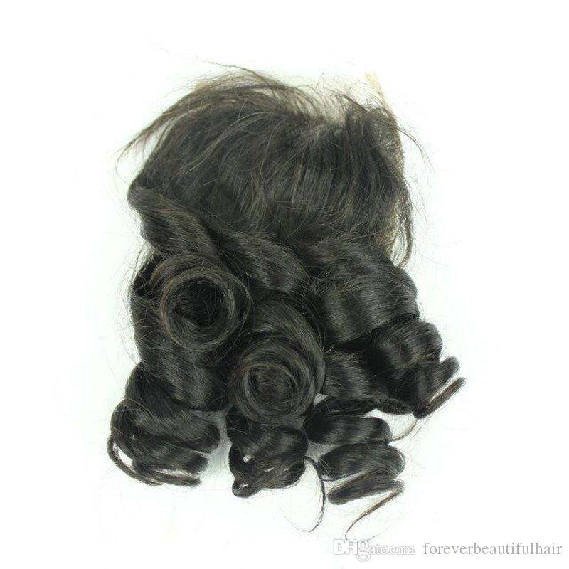Top Grade Double Drawn Weft Curly Virgin Hair Unprocessed Funmi Curl Hair Bundle With Closure