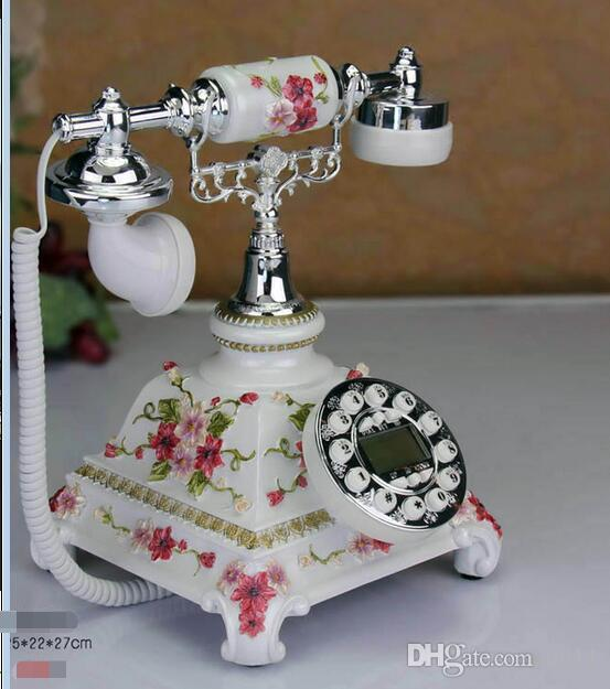 new type field European-style telephone European style rural fashion new antique phone to show blue screen decoration old-fashioned table cu