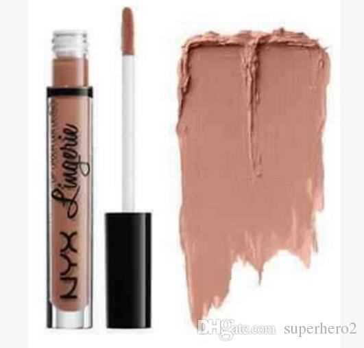 Brand new NYX lingerie liquid matte Lipstick waterproof nude lip gloss makeup cosmetics party gift 12colors drop shipping