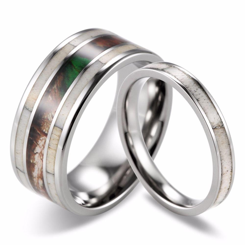 2018 2016 new couples wild antler wedding band matching set camo wild antler titanium rings fashion lovers rings jewelry from shardonjewelry01 - Antler Wedding Rings