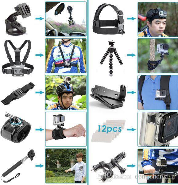 50-in-1 Spor Kamera Aksesuarları Kafa Göğüs Kayışı El Selfie Sopa Yüzükleme Sopa Mini Tripod Kahraman için 6/5 Sjcam Xiaoyi Ücretsiz Shippi