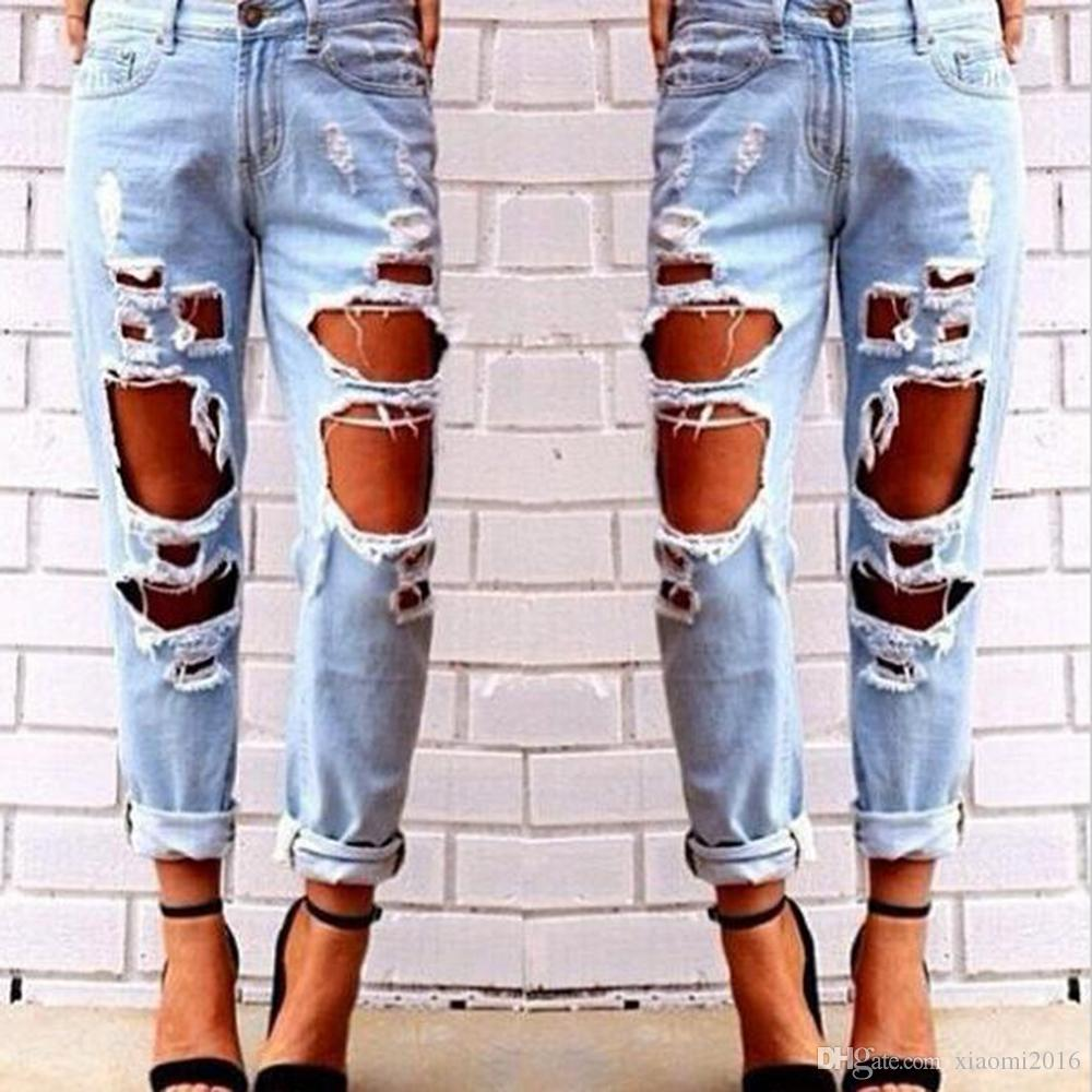 2017 Hot 2017 Autumn Ripped Jeans Female Casual Washed Holes ...