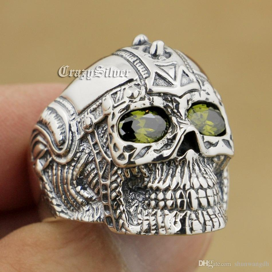 Black Olive Eyes 925 Sterling Silver Gothic Tattoo Skull Mens Biker Rocker Punk Ring 9G205 US Size 7 ~ 15