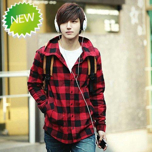 See larger image. New Men S Slim Fit Casual  Amp  Dress Plaid Check Shirt Korean