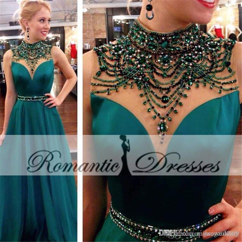 Emerald Green Color Sarin A Line Evening Dresses High Neck ...
