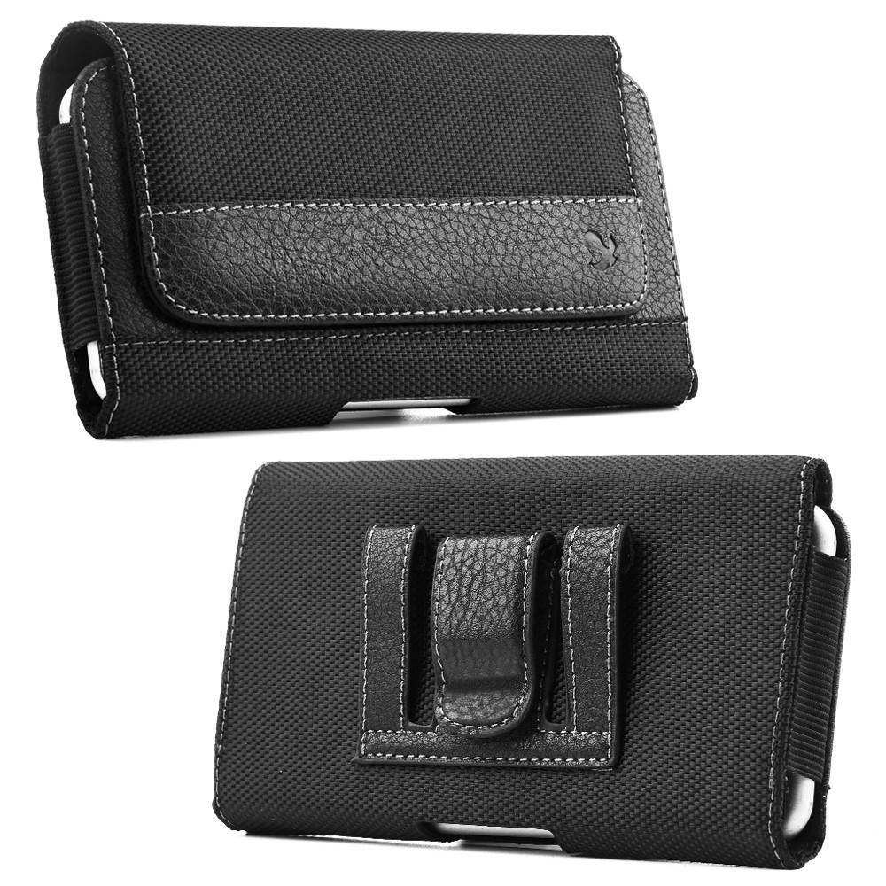 big sale b1ca5 e1138 Universal PU Leather Case Cover Horizontal Holster Pouch with Belt Clip for  iPhone X Cell Phone Smartphone Up to 6.3 Inch