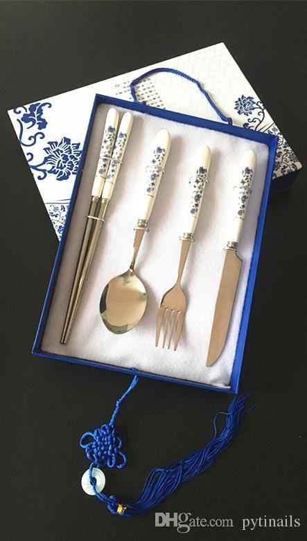 Migliore prezzo all'ingrosso alta qualità di titanio vasellame set tra cui coltello, forchetta, bacchette, cucchiaio