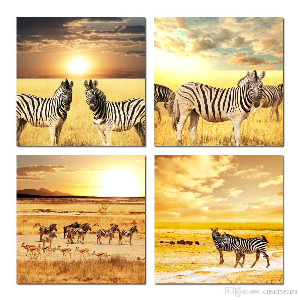 2018 Zebras Herd On Savanna Africa Safari At Sunset Scene Canvas ...