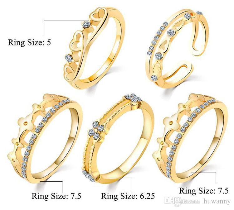Ring Set Silver Band Rings Hot Sale CZ Diamond Crown Finger Rings for Woman Girl Silver Jewelry Wholesale 0354WH