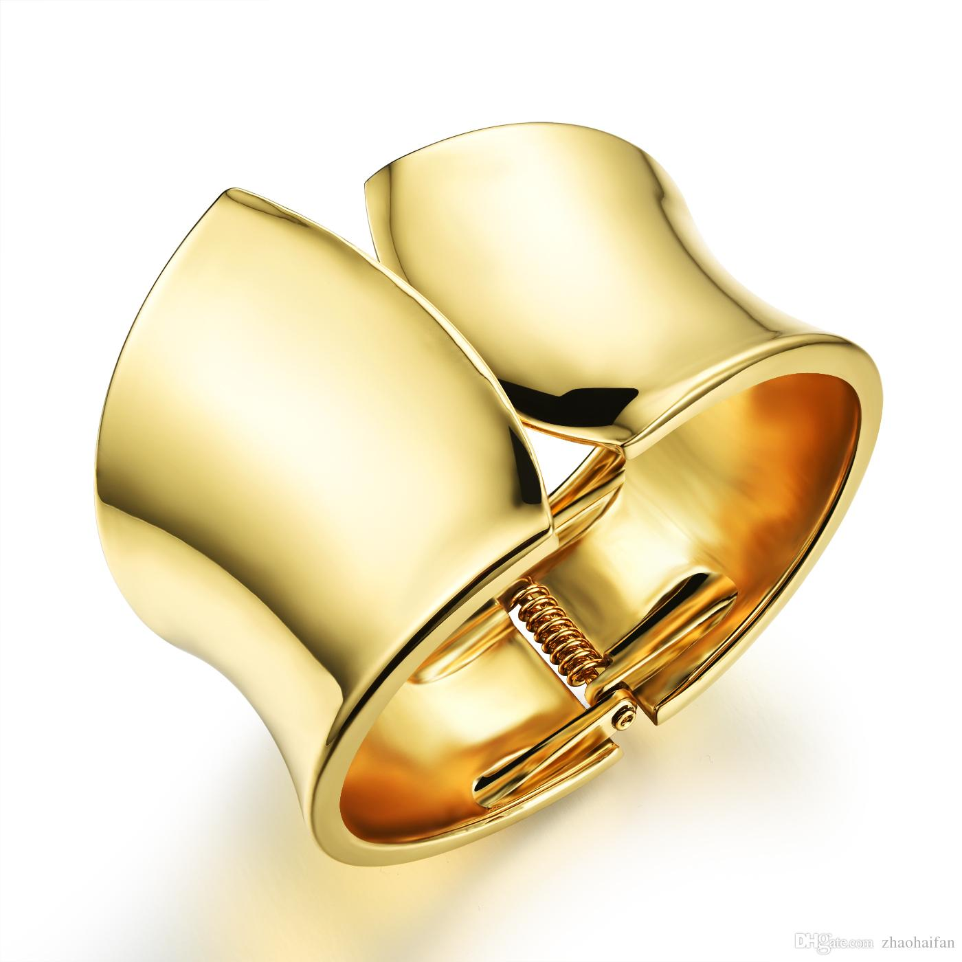 Big Surface 35mm Width Woman Bangles Cool 18k Gold Exagerated Eu ...