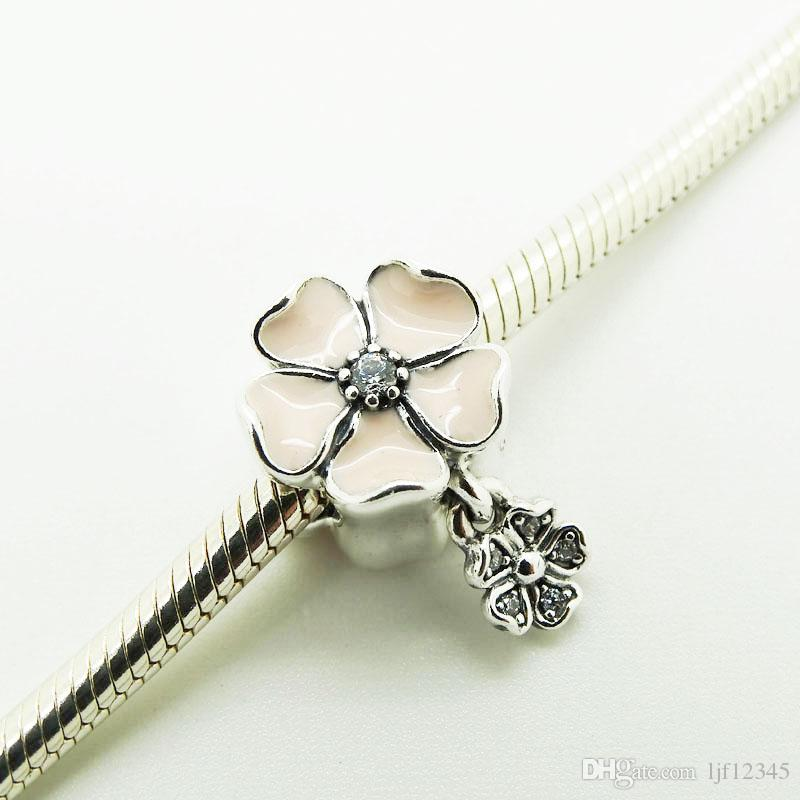 925 Silver Beads Charms Flower shape with Poetic Blooms with Soft Pink Enamel and Clear CZ 2016 Spring Jewelry