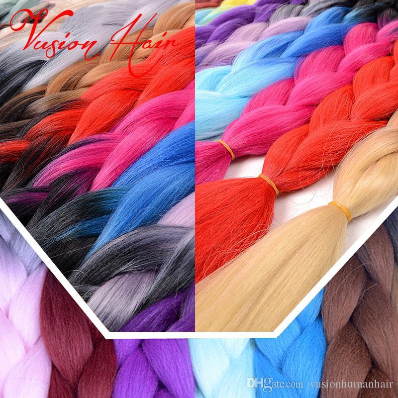 Ombre Deux Couleurs Synthétique Jumbo Tressage Cheveux 24 pouces 100g Kanekalon Tressage Cheveux Crochet Tresses Cheveux En Vrac En Gros Prix
