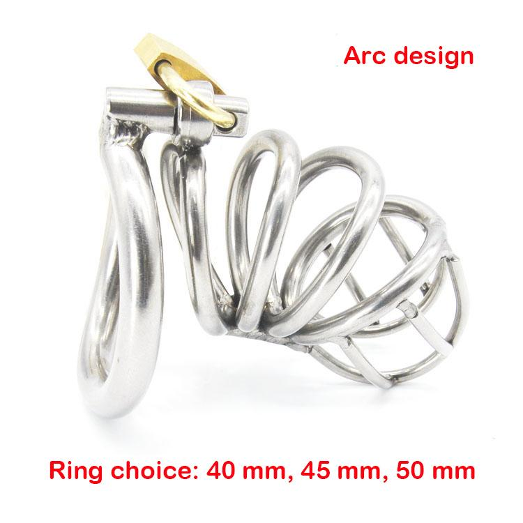 Productos del sexo cinturón de castidad masculina anillo de martillo en forma de arco 18/8 dispositivo de castidad de acero inoxidable jaula de sujeción del pene juguetes adultos del sexo del juego